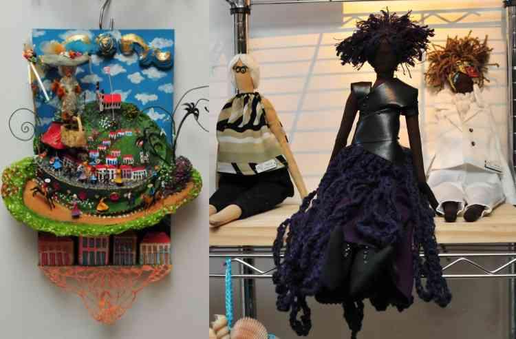 Obra de arte popular com personagem de Ouro Preto, e bonecas representando Fernanda Montenegro e Elza Soares - Gladyston Rodrigues/EM/D.A Press
