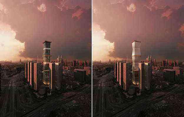 A Equator Tower está na disputa na categoria Tecnologia. A edificação pode ganhar uma fachada extra nos dias de sol forte - Architizer A  Awards/Divulgação