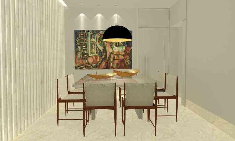 Sala de estar, sala de jantar, varanda e banheiro vão passar por renovação que dará uma cara nova à residência do casal - Perspectiva/Divulgação