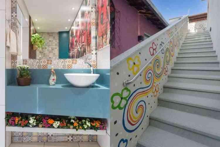 No lavabo e na escada, o protagonismo das cores - Osvaldo Castro/Divulgação
