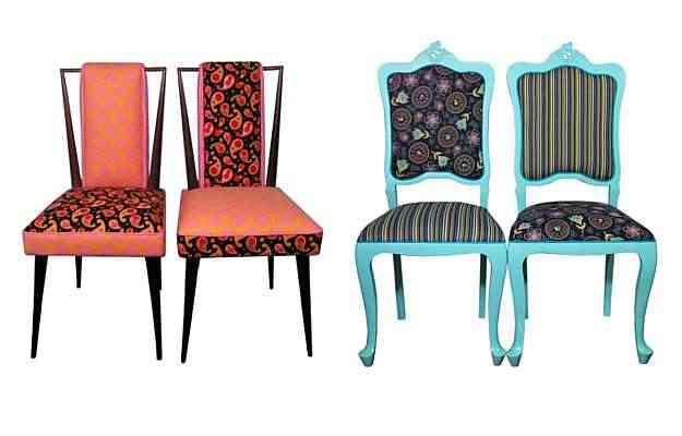 Cadeiras birds e cadeiras arabescos da Bem Dito Canto, especializada em reformas de móveis antigos - Andressa Bonn/Divulgação