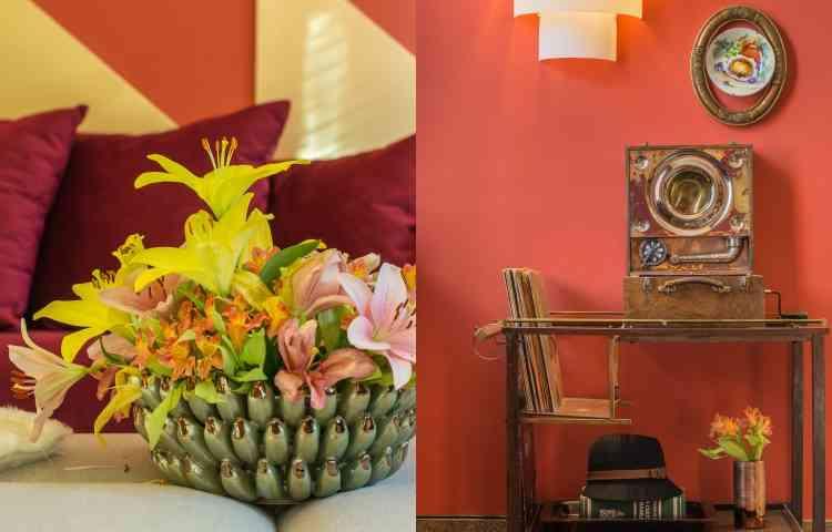Flores e objetos que mexem com a memória afetiva são a opção de Melina Mundim nesses projetos - Rodrigo Tozzi/Divulgação