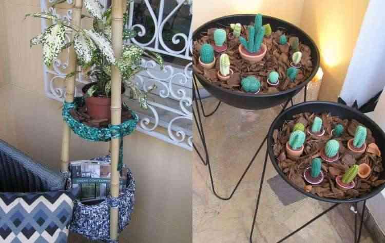 Na Varanda, um forte tom de brasilidade com o tripé em bambu e os cactus em crochê - Joana Gontijo/EM/D.A Press
