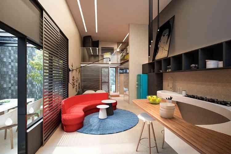 Leiaute da Casamirador deixa claro as diferenças entre estúdios, lofts e apartamentos que, distribuídos em 38 unidades, se dividem em casas, estúdios, lofts e cobertura - Jomar Bragança/Divulgação