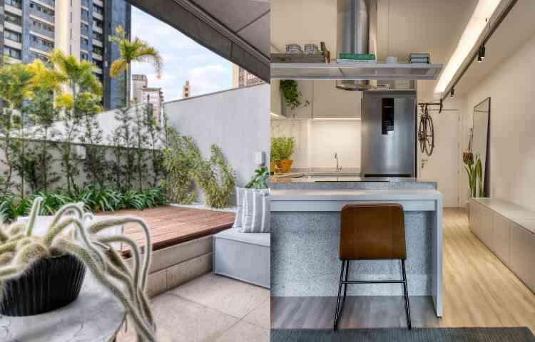 Na composição do apartamento EL, a cozinha está integrada à sala e área externa convida ao relaxamento - Gustavo Xavier/Divulgação