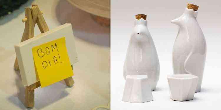 A loja Oca Criativa tem opções divertidas para todos os gostos. Nesta foto, minicavalete com tela para mensagens e galheteiro que imita pinguins - Alexabdre Nunes/Divulgação