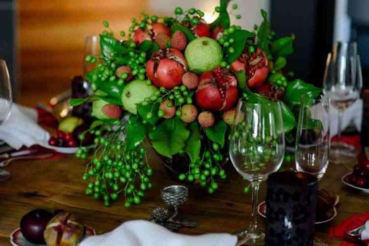 Centro de mesa com frutas naturais  - Divulgação